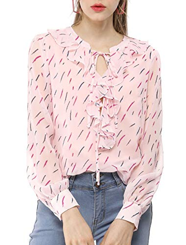 - Allegra K Women's Ruffled V Neck Lined Chiffon Printed Blouse Pink L (US 14)