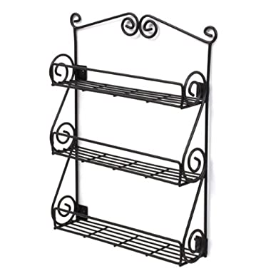 Spectrum Diversified Scroll Spice Wall Mount Rack, Black