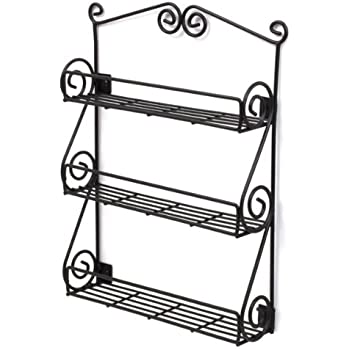 Spectrum Diversified Scroll Wall Mounted Spice Rack, Black