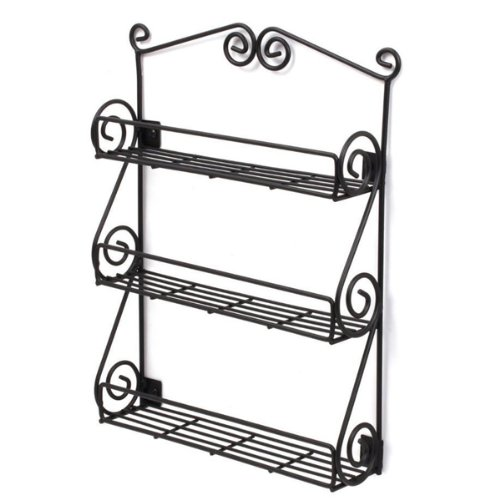 Spectrum Scroll 3tier Wall Mount Spice Rack Pantry Organizer Black (Large Image)