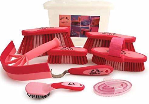 Charles Bentley No Slip-8 pieza ecuestre y estética kits de llevar a la caja - rosa