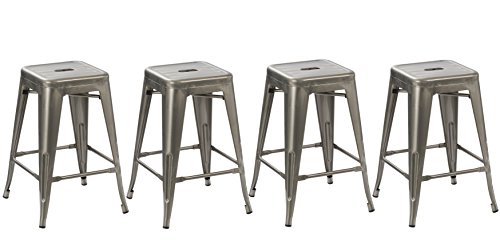 BTEXPERT 5003-24dm-4 bar Metal Brush Modern Counter Stool, 24