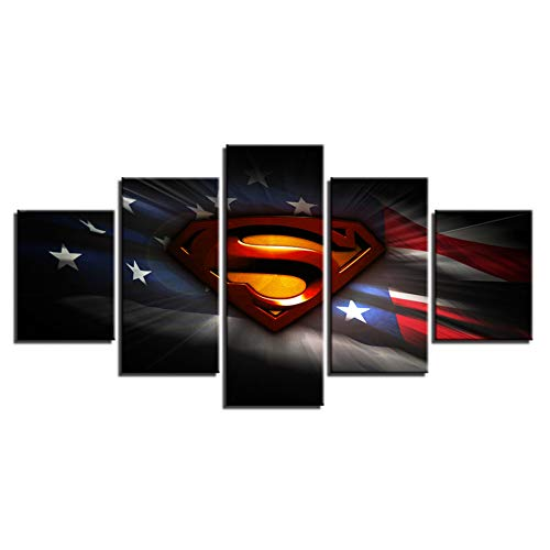 (DADABOX Canvas Painting Wall Art Home Decor 5 Pieces American Flag for Living Room Modern Hd Printed Superman Mark Pictures)