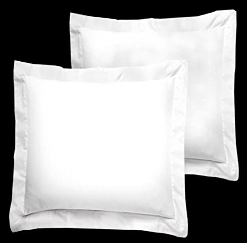 FlyingCart 2-Piece 500 Thread Count Egyptian Cotton Euro Square 26 x 26-Inch Pillow Shams, White - Euro Shams Covers