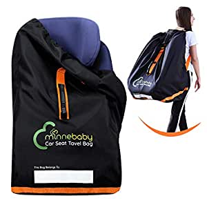 Minnebaby Car Seat Travel Bag - Large Gate Check Backpack with Adjustable Shoulder Straps and Handle - Foldable Pram Cover with Secure Closure, Name Tag, Durable Materials - for Storage & Transport