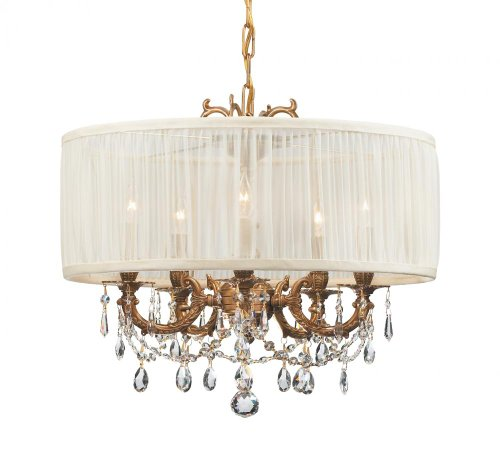 Cls Traditional Crystal Chandelier - Aged Brass Finish / Antique White Shade / Golden Teak Hand Polished Crystal Gramercy 5 Light Drum Crystal Chandelier
