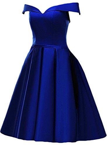 ivyd ressing Mujer utilizada a partir de la hombro satén corto Fiesta Vestido fijo Prom vestido para vestido de noche Azul Real