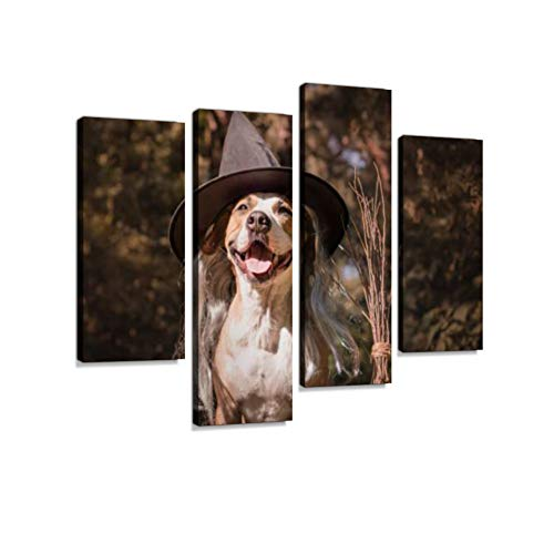 Cute dog with broomstick dressed up for halloween as friendly forest witch. Canvas Wall Art Hanging Paintings Modern Artwork Abstract Picture Prints Home Decoration Gift Unique Designed Framed 4 panel]()