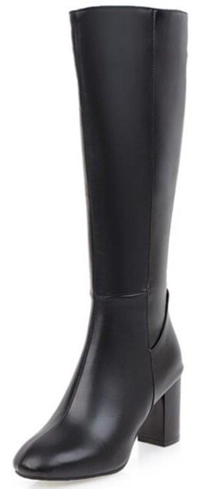 IDIFU Women's Sexy Mid Chunky Heels Round Toe Full Zip Knee High Boots Long Riding Booties (Black, 8.5 B(M) US)