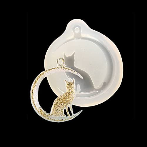 1* Moon Cat Silicone Pendant Mold Jewellry Making Resin Mould Epoxy Casting Tool