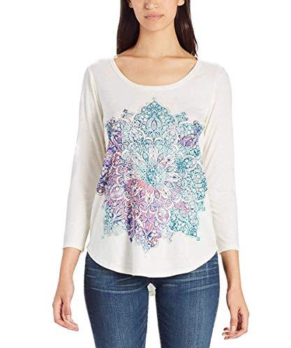 Lucky Sheer T-shirt - Lucky Brand Womens 3/4 Sleeve Scoop Neck Graphic Tee Shirt (Marshmellow, Small)