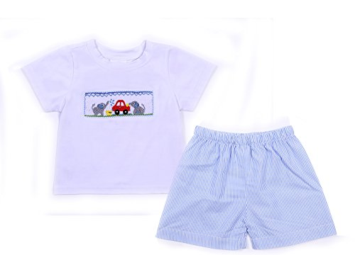 Babeeni Babeen Boys Shorts Set Featured With Elephant and Car Hand-Smocked Patterns In White Knit Top and Blue Stripe Fabric (6M)