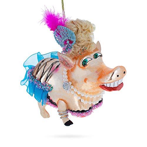 Glass Blown Pig (BestPysanky Pig Dressed Blown Glass Christmas Ornament)