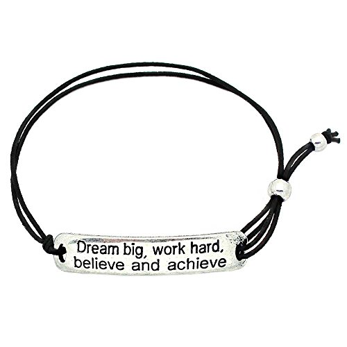 KIS-Jewelry Dream Big, Work Hard, Believe and Achieve' Inspirational Stretch Bracelet - One Size Fits All Motivational Bracelet with Engraved Plaque & Black Elastic