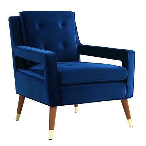 Cheap TOV Furniture The Draper Collection Contemporary Style Velvet Upholstered Button Tufted Living Room Parlor Chair, Navy