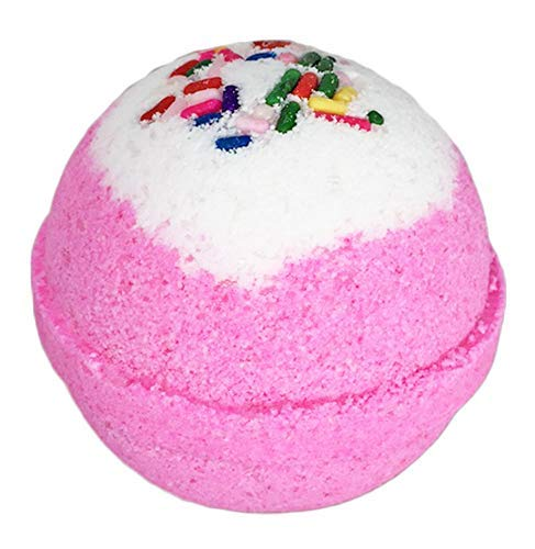 Birthday Cake BUBBLE Bath Bomb in Gift Box. USA Made Large Lush Spa Fizzy Handmade Gift Idea for Her, Wife, Girlfriend - Releases Pink Color, Cupcake Scent, and Bubbles in Bath - Dry Skin Moisturizing ()