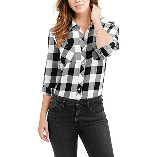 Faded Glory Women's Plaid Button Front Two-Pocket Shirt (S, Black White Check) - Glory Womens Shirt