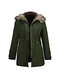 XWDA Winter Parka Women Thick Hooded Coat Warm Faux Fur Lined Jacket