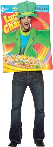 Charms Box Lucky Cereal Costume (Lucky Charms Cereal Box Adult Costume (As Shown;One)
