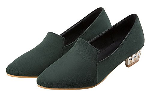 AllhqFashion Womens Closed-Toe Frosted Low-Heels Solid Pumps-Shoes Darkgreen zWakHr