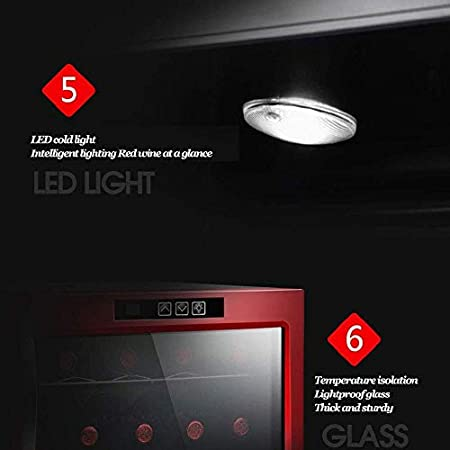 Mini Enfriador de Vino, refrigerador termoeléctrico para Bodega de Vino, Control de Temperatura táctil/refrigerador de Funcionamiento silencioso/Vidrio con Doble Aislamiento