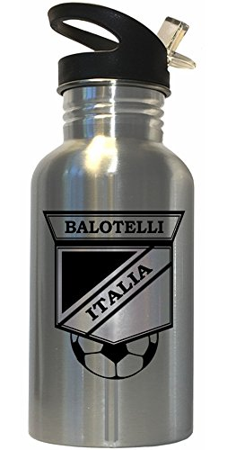 Mario Balotelli (Italy) Soccer Stainless Steel Water Bottle Straw Top by Custom Image Factory