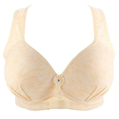 Keepmove Women's Everyday Comfort Seamless Underwear Gathered Underwear Wire Free Bra(Khaki,100)