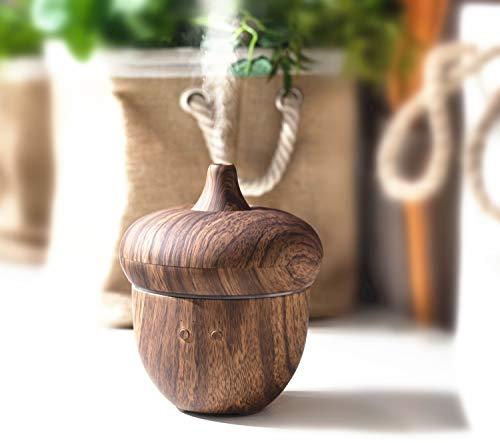 Essential Oil Diffuser 300ml Acorn Wood Grain Aromatherapy Diffuser, Cool Mist Humidifier Waterless Auto Shut-Off 7 Color LED Lights for Yoga,Office,Spa,Bedroom,Gift