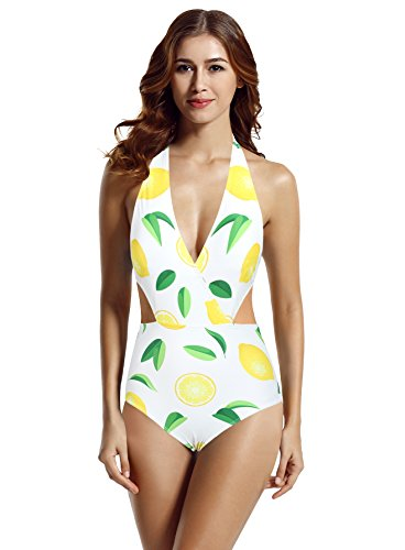 zeraca Women's Surplice Neckline High Waisted Halter One Piece Monokini Swimsuit (Lemon, Large / - Piece One 10 Swimsuit Size