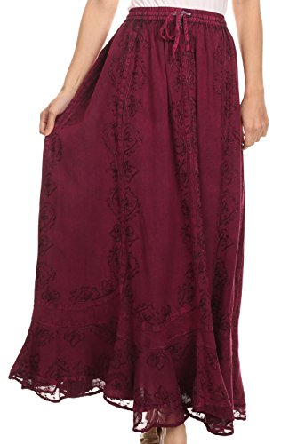 lyn Adjustable Skirt With Lace Embroidered Trim and Detailed Embroidery - Fuchsia - OSP (Fuchsia Embroidery)