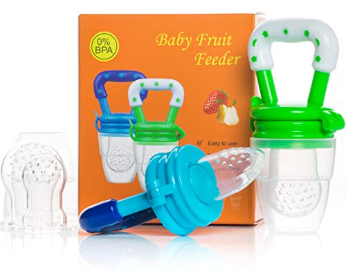 - Dream on Baby Teether Food Feeder Pacifiers (2 PCs) - Infant Teething Toy Nibbler Teether and Silicone Food Pouches in Appetite Stimulating Colors | Includes 2 PCs 3 Sizes Silicone Sacs