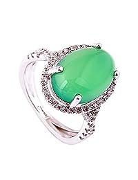 Acefeel Elegant Green Semi-precious Stones Micro Pave Zircon Emerald Ring Mother's Day Gift R170