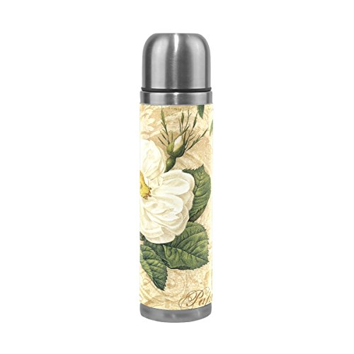 LEISISI Gardenia Flowers Stainless Steel Water Bottle Leak-Proof Vacuum Insulated Flask Pot Sport Double Wall Water Bottle PU Leather Travel Thermal Mug 17 Oz