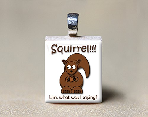 (Squirrel Scrabble Tile Pendant - Um, What Was I Saying?)