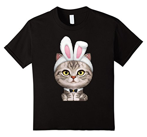 Kids Silver Tabby Cat in the Easter Bunny Costume T-Shirt 6 Black (Black Cat Costume Ideas)