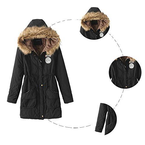 Chaqueta Forrado Sudadera De Jacket Parka Cálido Otoño Invierno Con Capucha Abrigo Negro Mujer Abrigos Taigood qXnw4gtAT