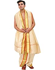 Exotic India Ready to Wear Dhoti and Veshti Set with Woven Golden Border