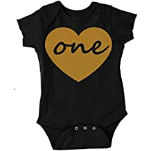 Custom Kingdom Baby Girls One Gold Heart First Birthday Bodysuit