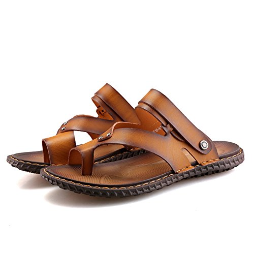 Beach Yellow Summer Sumuo Leather Mens Casual Sandals wcxRIWBS4q