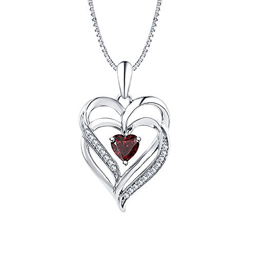 tusakha Lovely Heart Shaped Red Garnet & Diamond Intertwined Double Heart Pendant Necklace 14K White Gold Over .925 Sterling Silver