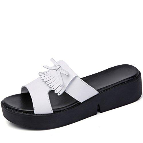 weiwei Verano De Las Señoras Zapatillas Cool Fondo Plano,con Fondo Grueso con Flecos Casuales Zapatillas Antideslizantes C