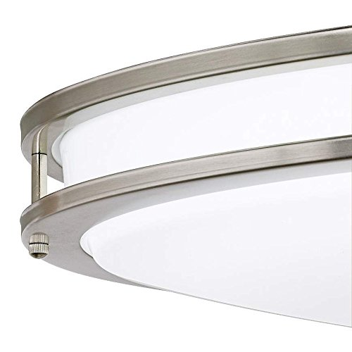 Lb72132 led flush mount ceiling lighting oval antique brushed nickel 32 inch 3000k warm white 2800 lumens energy star amazon com