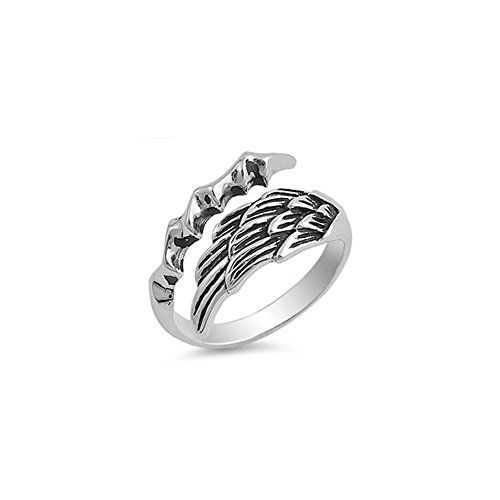 - Noureda Sterling Silver Stylish Angel Wing with Eagle Claw Ring, Face Height of 13MM