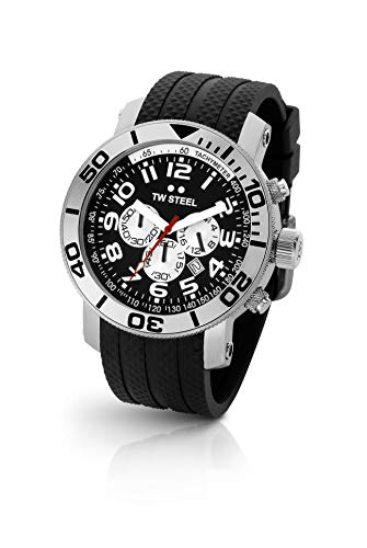Grandeur Diver Men's Rubber Strap Watch with Black Chronograph Dial