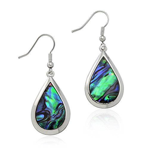 Used, PammyJ Silvertone Abalone Tear Drop Dangle Womens Earrings for sale  Delivered anywhere in USA