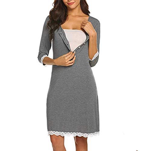 - Women's Maternity Dress Half Sleeve Lace Button-up Nursing Nightgown for Breastfeeding Sleepwear (Gray, S)