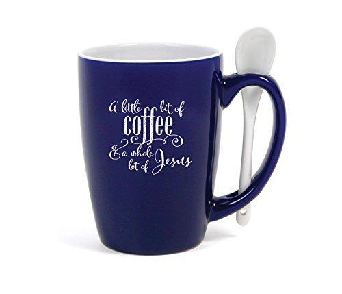 - Little Bit of Coffee Whole Lot of Jesus Cobalt Blue 15 Ounce Ceramic Coffee Mug with Spoon