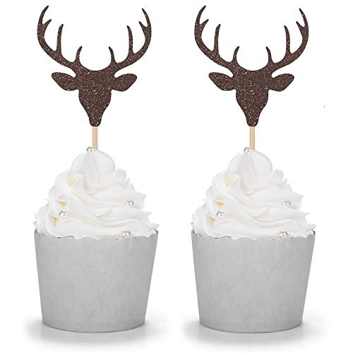 (Set of 24 Brown Glitter Antler Cupcake Toppers Kid's Party Baby Shower Wedding Decorations)