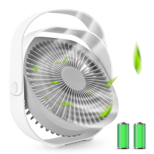 Desk Fan, Portable Personal Table USB Fan 4000mAh Rechargeable 8'' Small Electric Cooling Desktop Fan, Adjustable 3 Speeds Strong Airflow 360 Rotation Ultra Quiet for Bedroom Home Office Travel, White