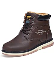 Camfosy Men's Warm Ankle Boots Winter Lace Up Comfortable Mens Casual Shoes Fur Lined Walking Work Footwear Non-Slip Leather Chukka Boot Outdoor Hiking Combat Military Boots Flat Sneaker